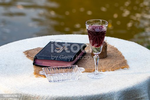 🔥 Taking Communion  Cup Of Glass With Red Wine, Bread And
