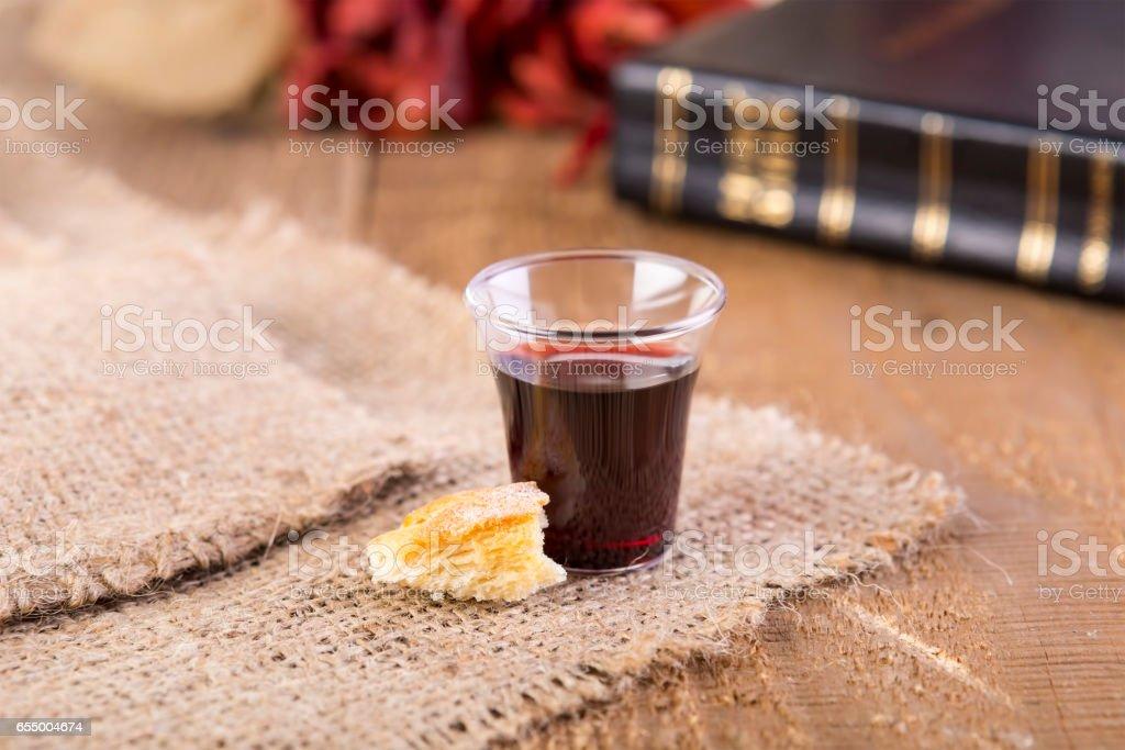 Taking Communion stock photo