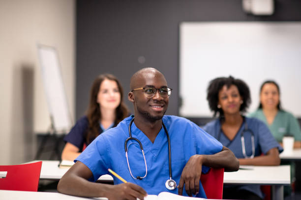 Taking courses in medical school stock photo