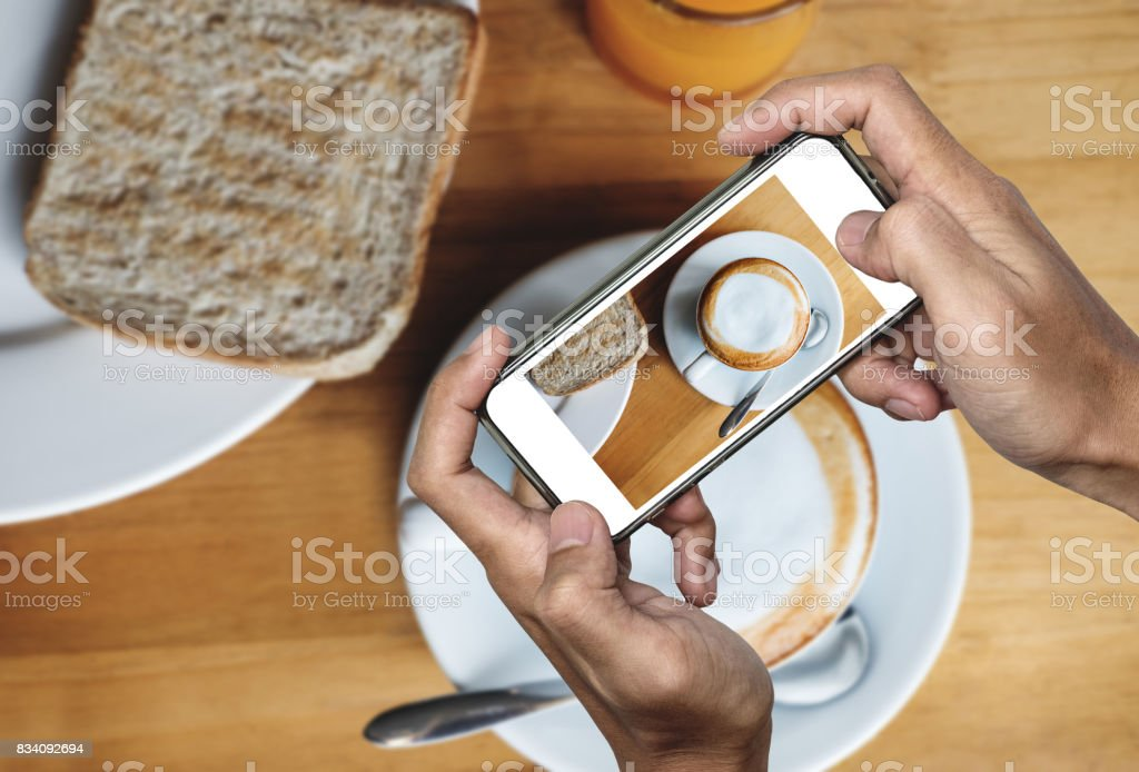 Taking Food Photo Food Photography By Smart Phone Morning Meal With Hot Coffee Stock Photo Download Image Now Istock
