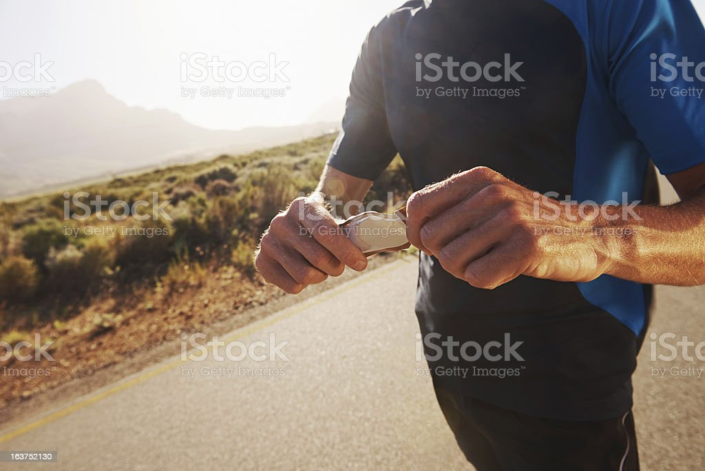Taking gels keeps your energy up! stock photo