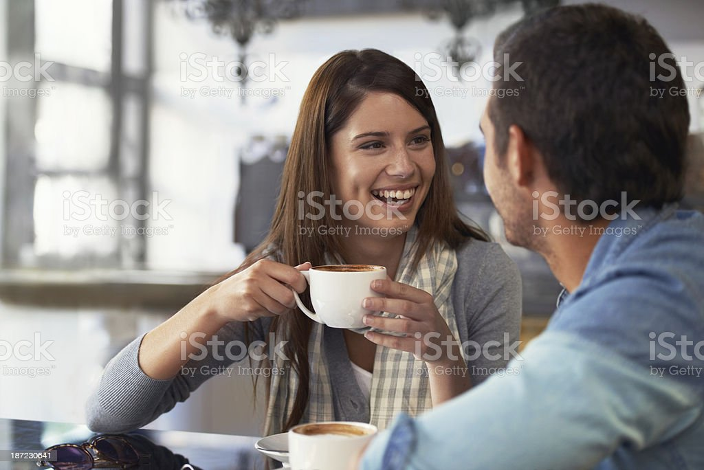 Taking her out to the coffee shop stock photo