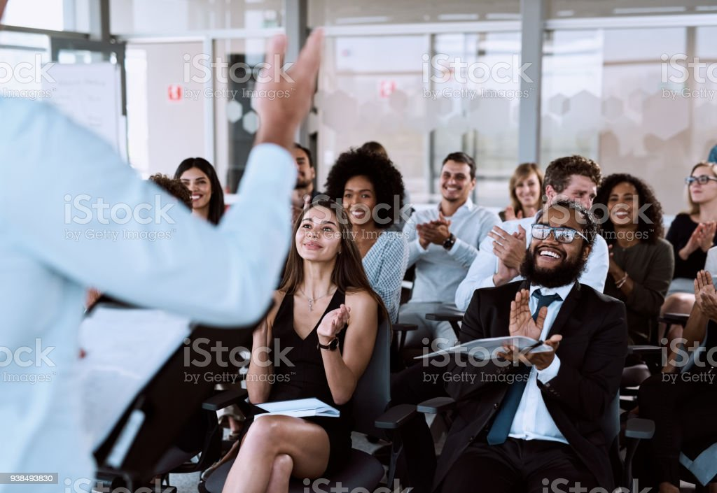Taking his audience on a journey they'll never forget stock photo