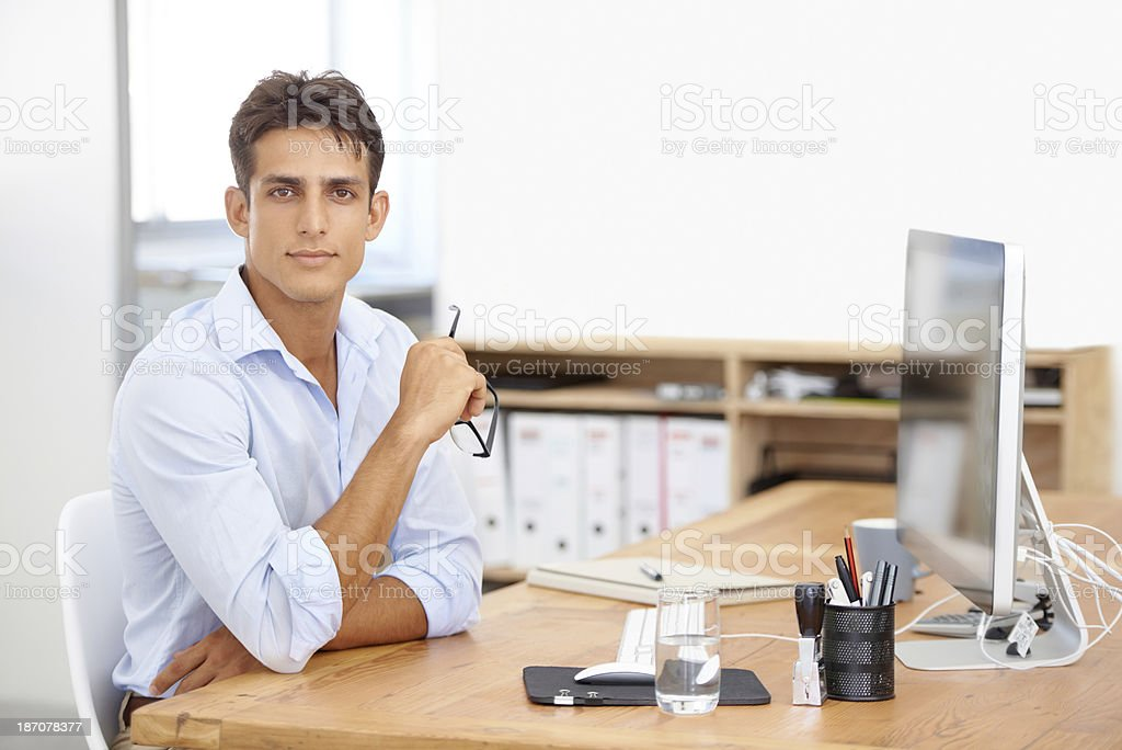Taking his business seriously royalty-free stock photo