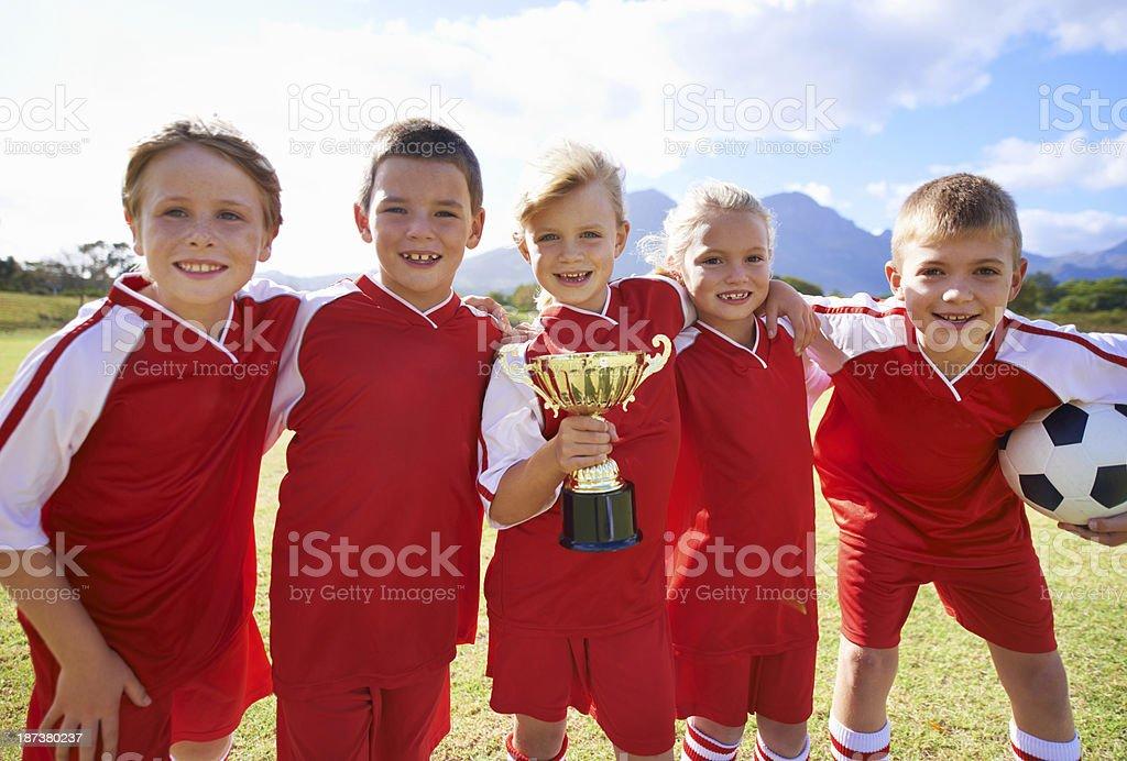 Taking home their prize royalty-free stock photo