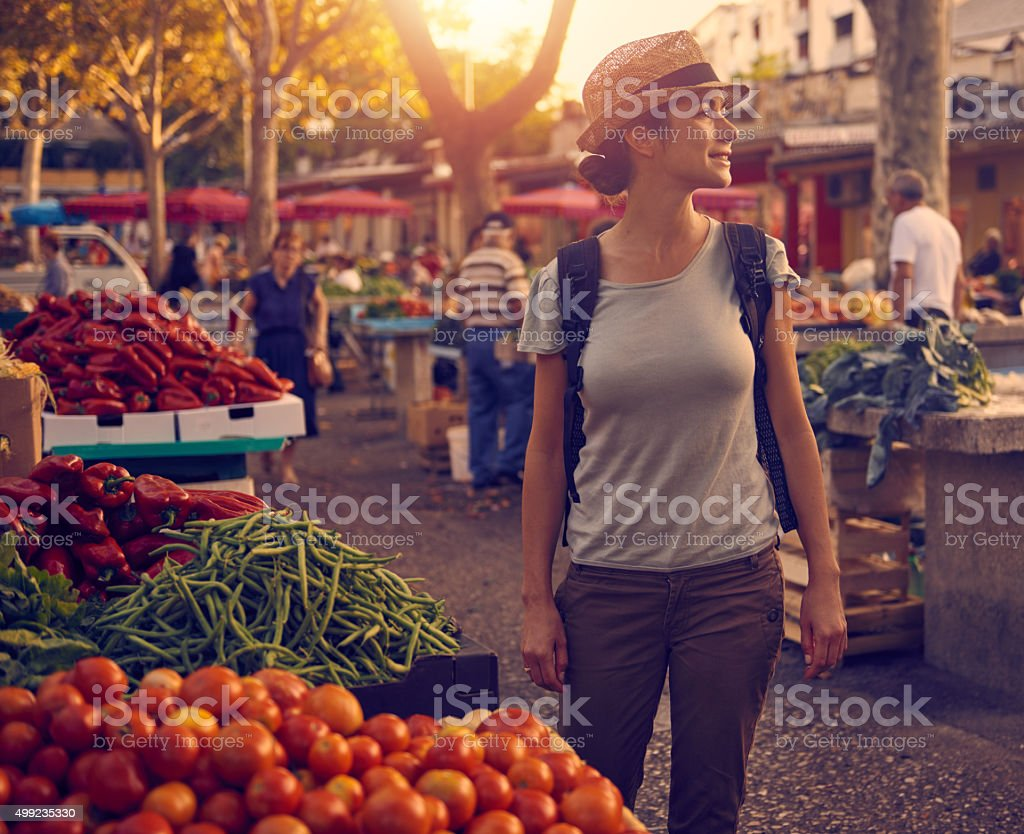 Taking in all the sights, the sounds, the smells... stock photo