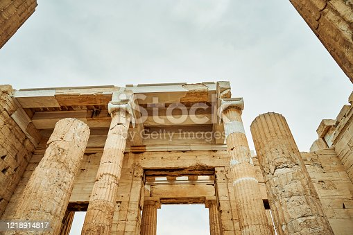 Cropped shot of the Propylaea in Athens while sight-seeing in Greece during the day