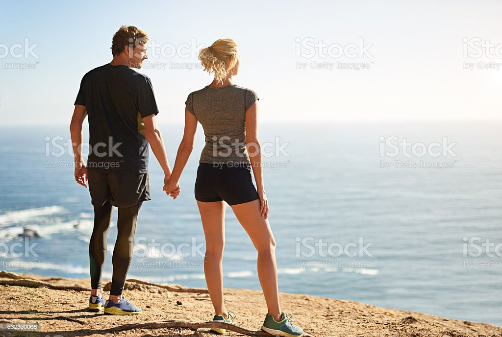 Taking in the fresh air and a spectacular view stock photo