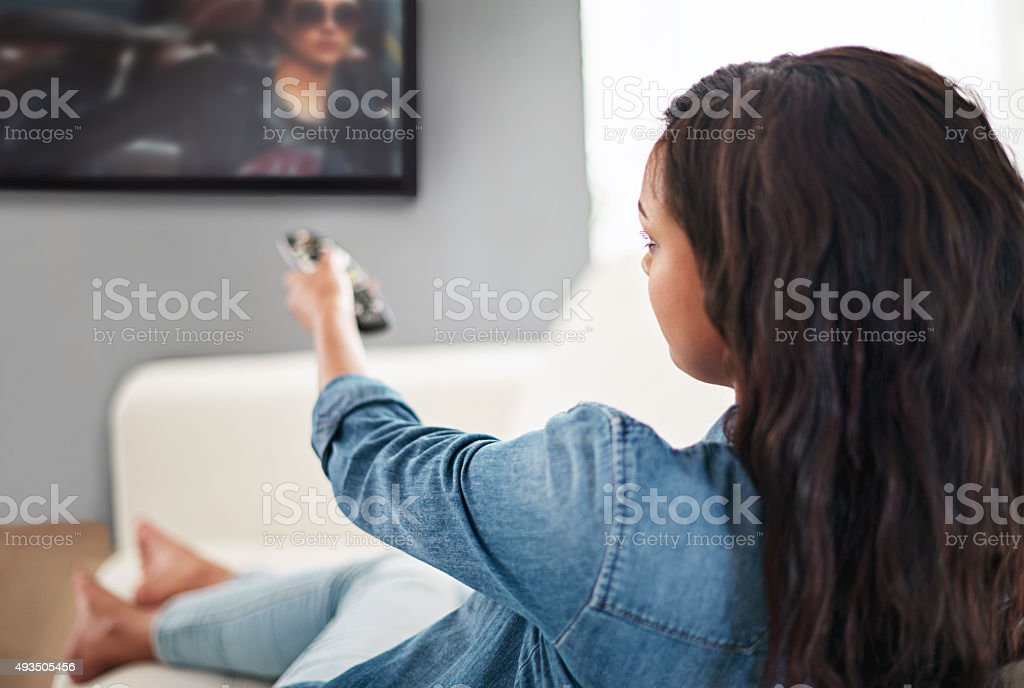 Taking it easy in front of the tv stock photo
