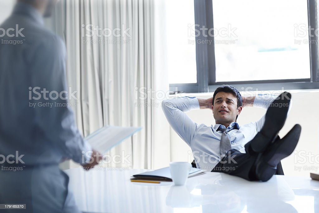 Taking it easy on the job royalty-free stock photo