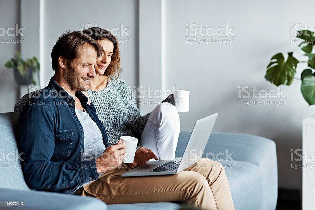 Taking it easy on the sofa stock photo