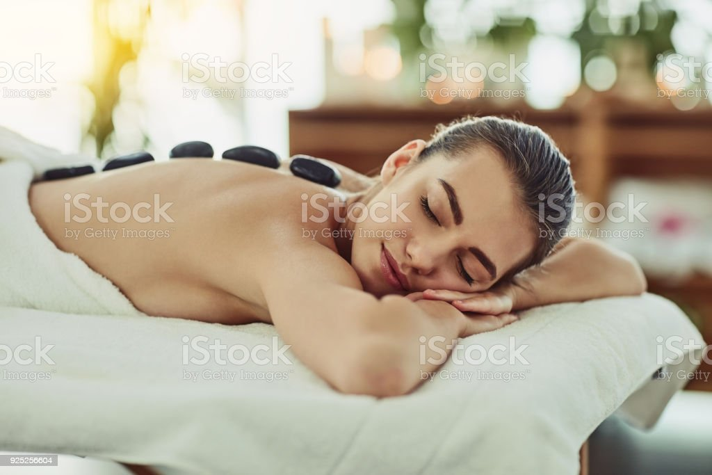 Taking it right to the muscles with heat stock photo