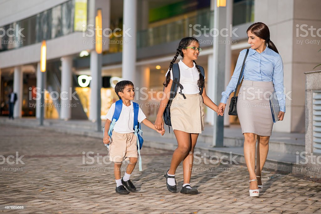 Taking kids to school stock photo