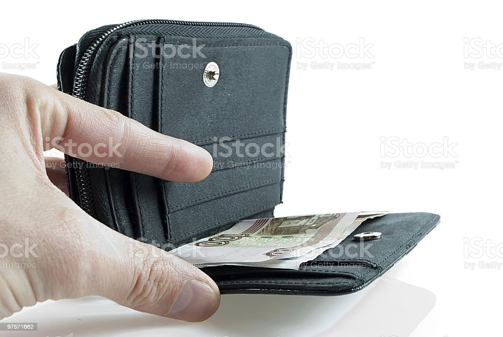 Taking money from wallet royalty-free stock photo