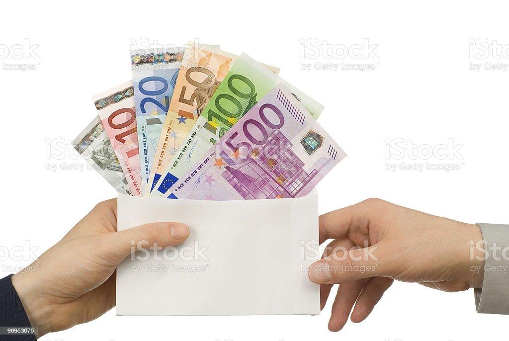 Taking money in an envelope royalty-free stock photo