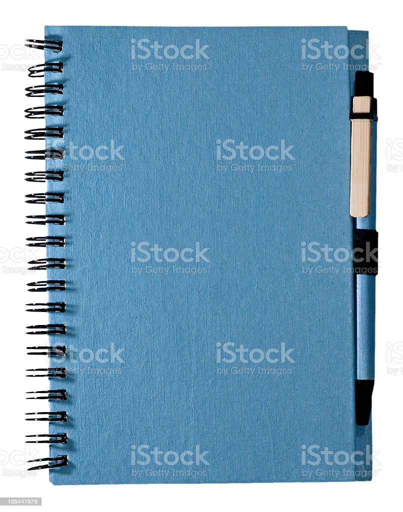 Taking Notes: Blue Spiral Notebook Journal with Pen royalty-free stock photo