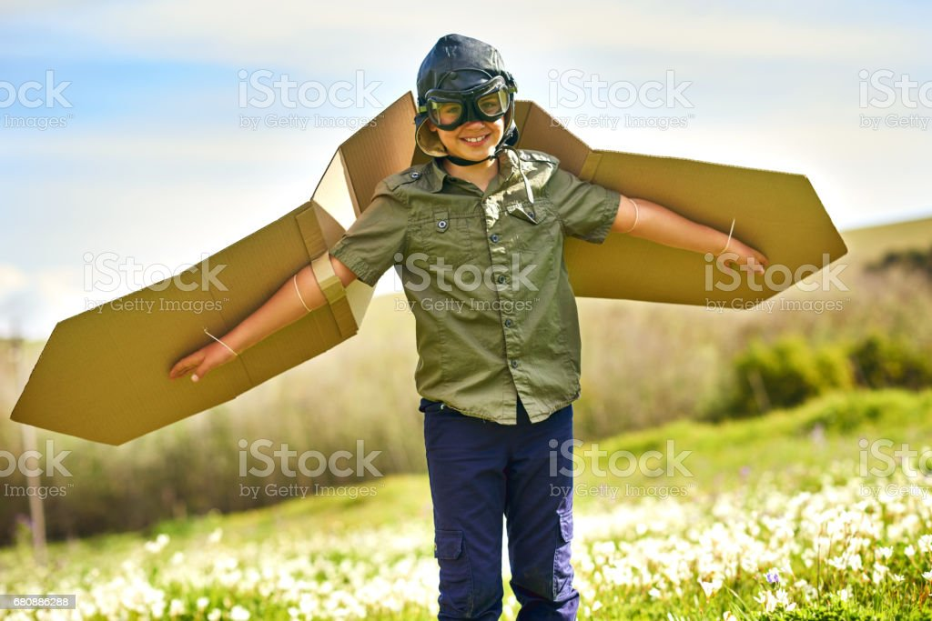 Despegando en líneas aéreas de la imaginación - foto de stock