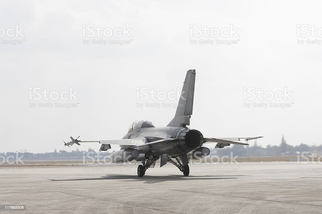F-16 taking off stock photo