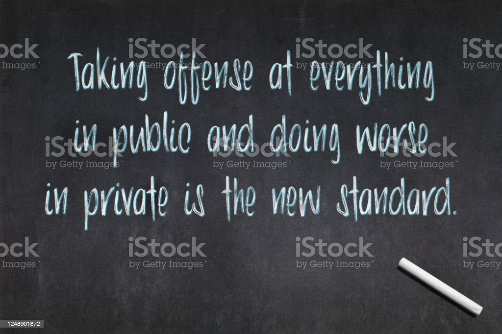 Taking offense at everything in public and doing worse in private is the new standard - Royalty-free Backgrounds Stock Photo