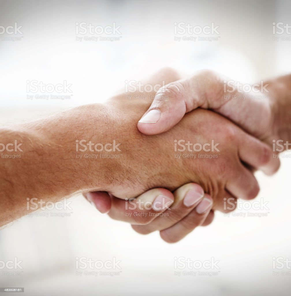 Taking on the business world together! stock photo