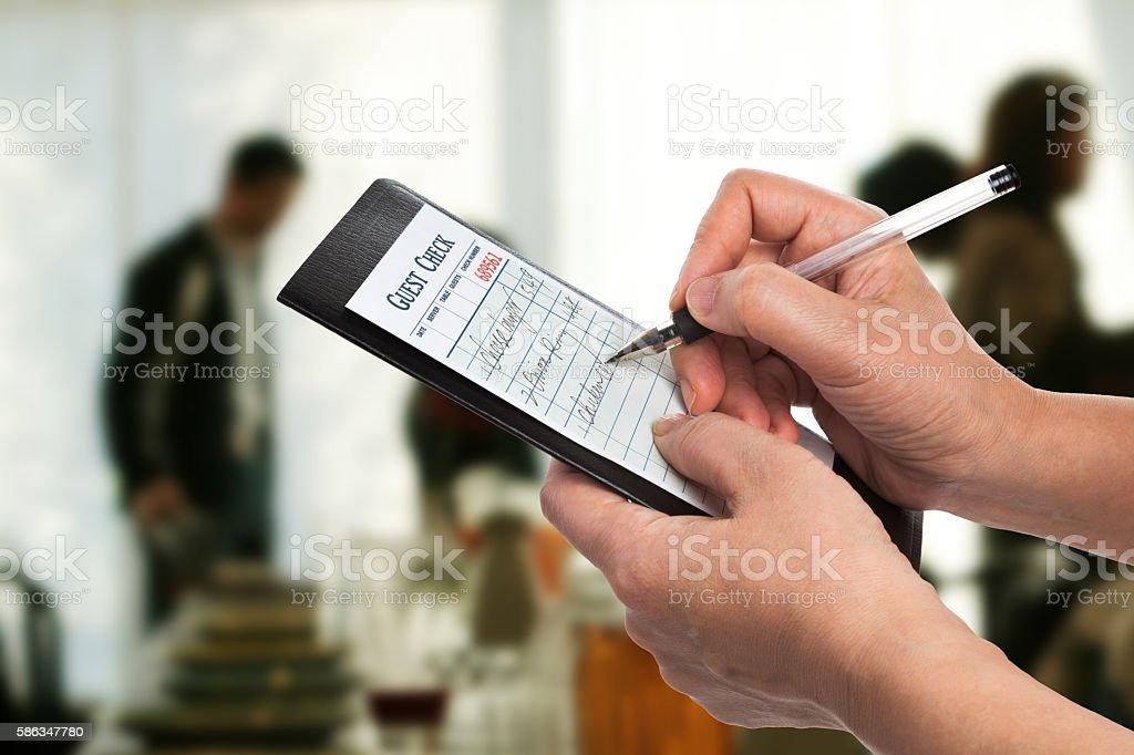 Taking orders stock photo