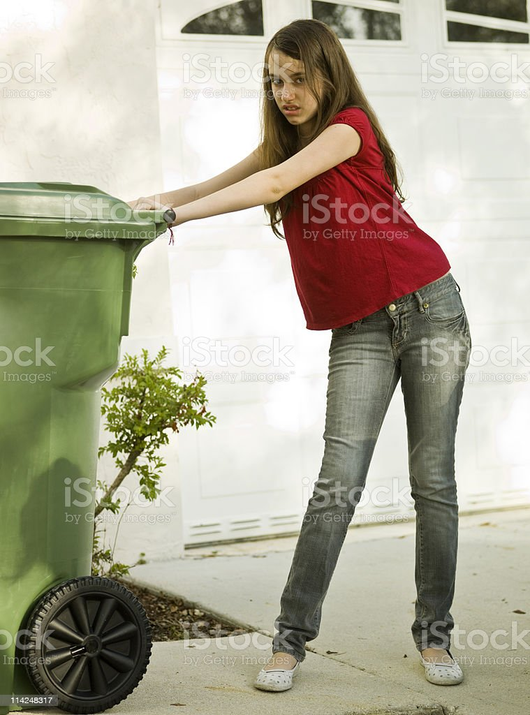 Taking out the garbage royalty-free stock photo