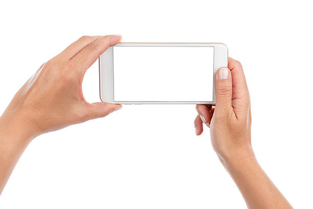 Taking Photo or Selfie with Mobile Phone Isolated stock photo