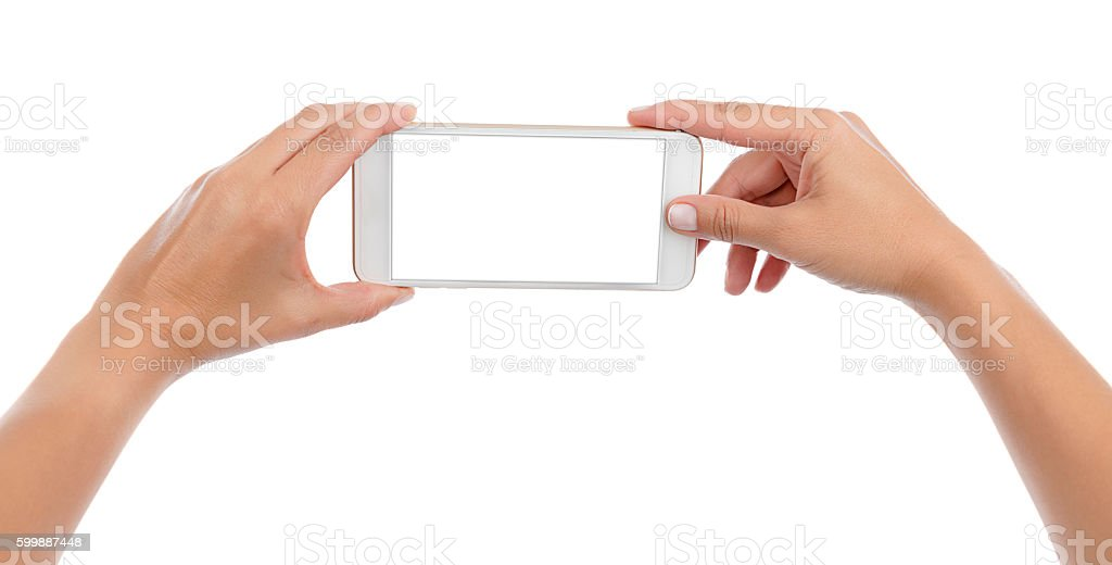 Taking Photo or Selfie with Smart Phone Isolated stock photo