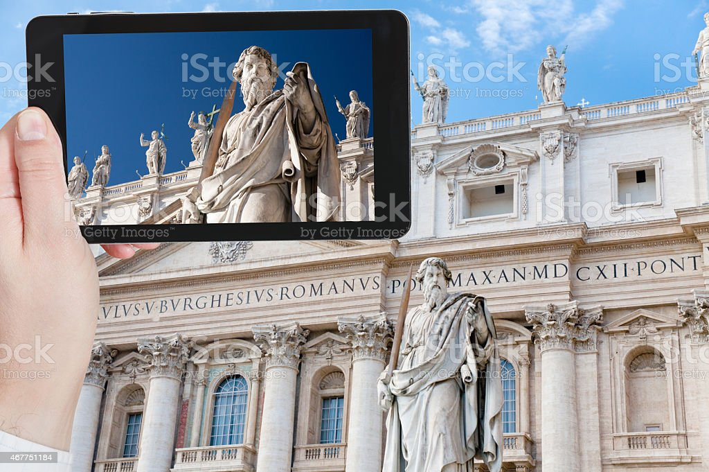 taking photo Statue of Apostle in Vatican stock photo