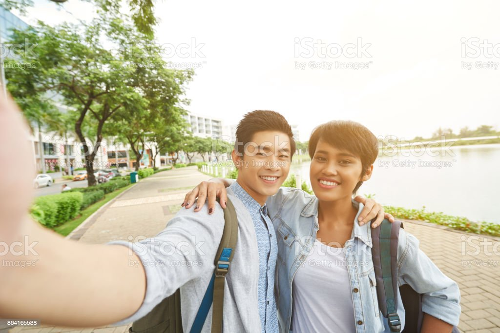 Taking photo together royalty-free stock photo