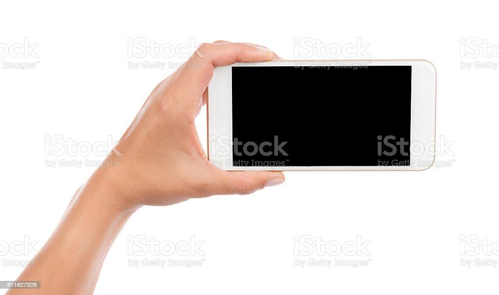 Taking Photo with Cell Phone Isolated - Lizenzfrei Berühren Stock-Foto