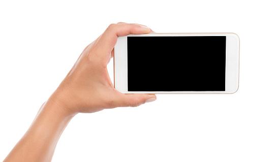 Taking Photo With Cell Phone Isolated Stockfoto und mehr Bilder von Berühren
