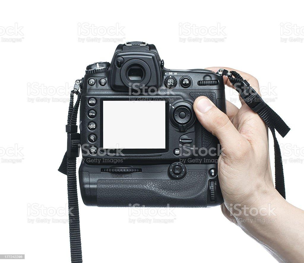 Taking photo with DSLR camera stock photo