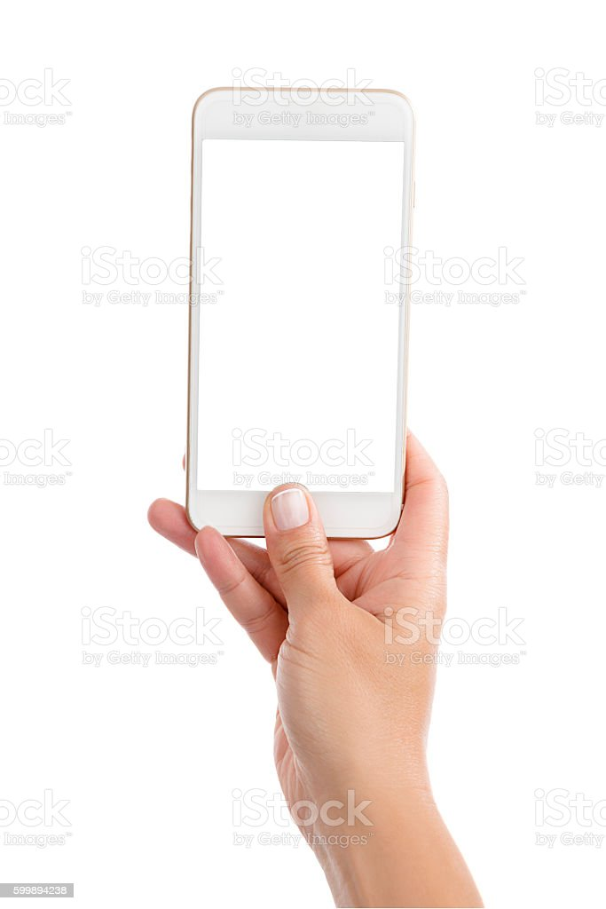 Taking Photo with Mobile Phone Isolated stock photo