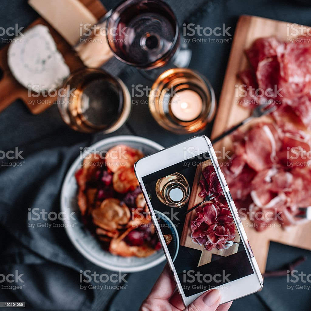 Taking photos of food table top shoot royalty-free stock photo