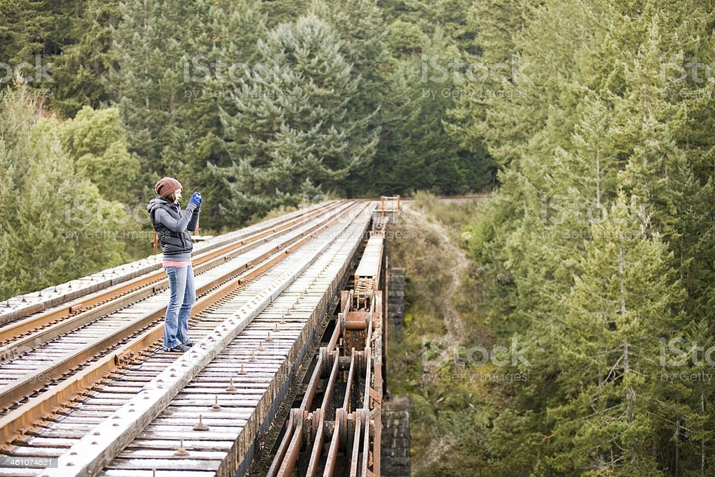 Taking Pictures from the Bridge stock photo