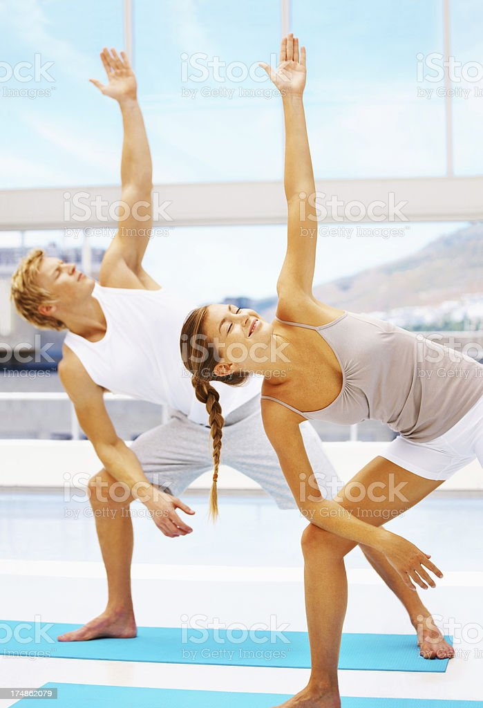Taking pleasure in yoga royalty-free stock photo