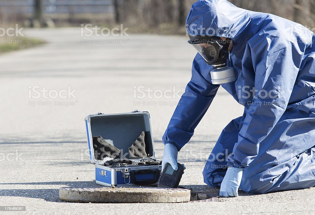 Taking samples of the air, research royalty-free stock photo