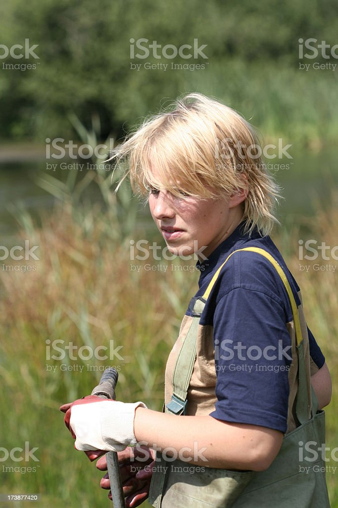 Taking samples of the soil and groundwater, environmental research. royalty-free stock photo