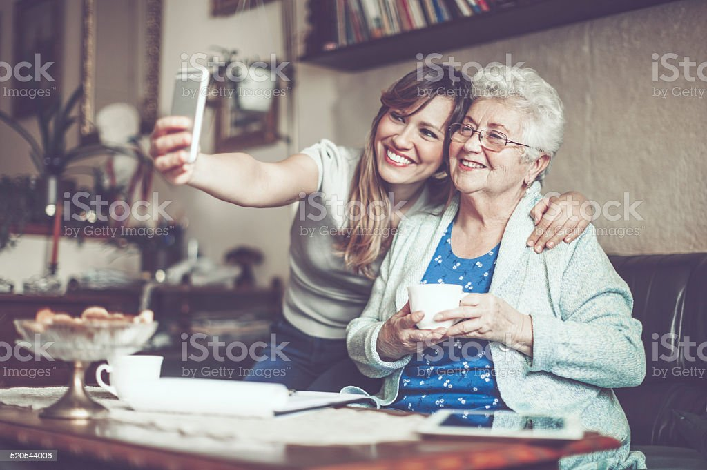 Taking selfies stock photo