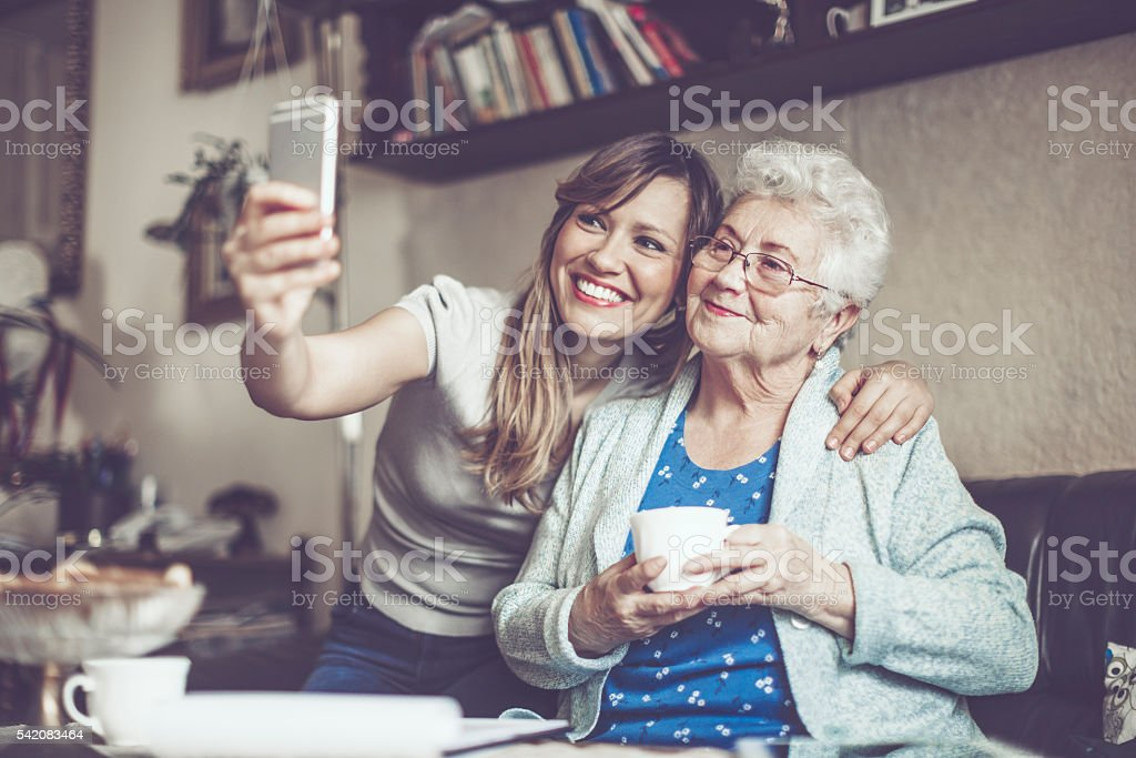 Taking selfies stock photo
