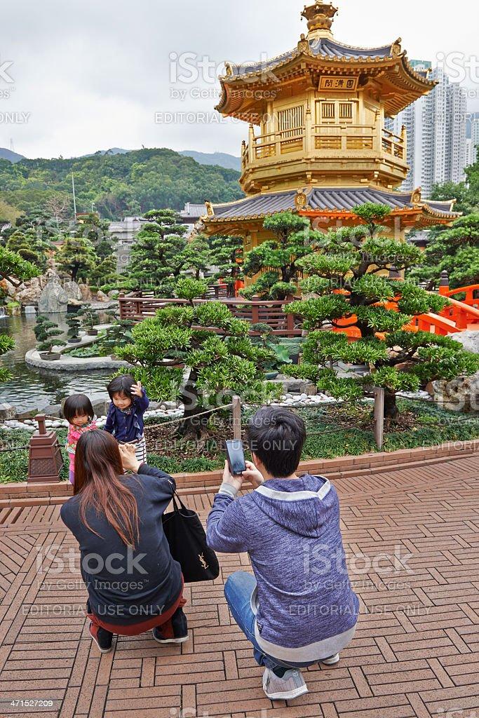 Taking Snapshots in Nan Lian Garden stock photo