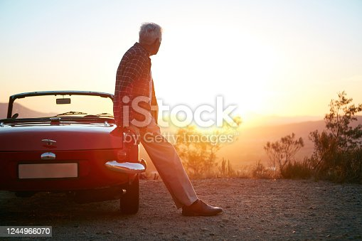 Shot of a senior man out on a road trip