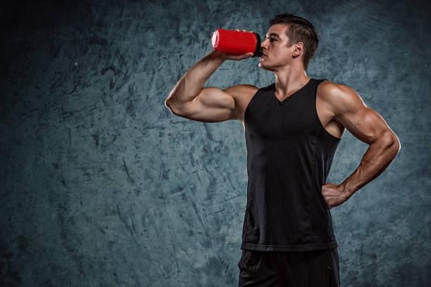 Taking supplements stock photo
