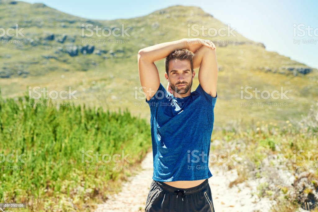 Taking the scenic route towards his fitness goals royalty-free stock photo