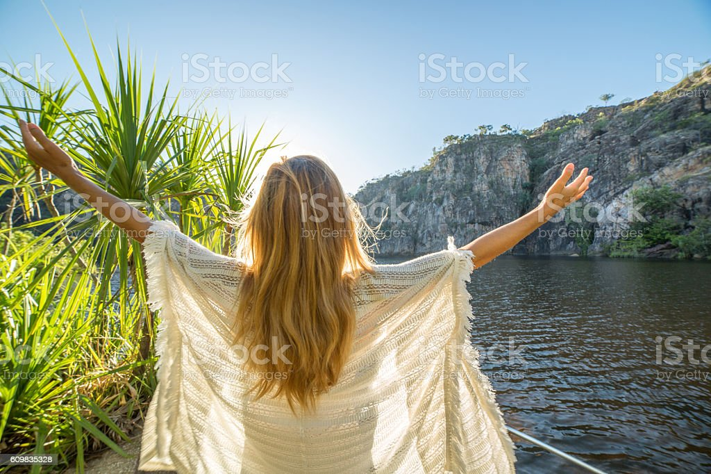 Taking the time to breathe it all in stock photo