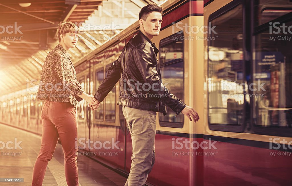 taking the train in berlin royalty-free stock photo