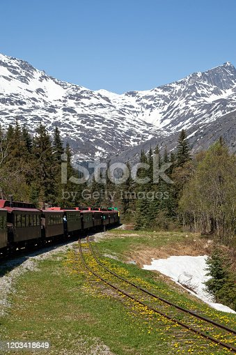 Taking the Train - the most popular excursions in Skagway Alaska  - through the White Pass from Skagway, Alaska toward Canada.