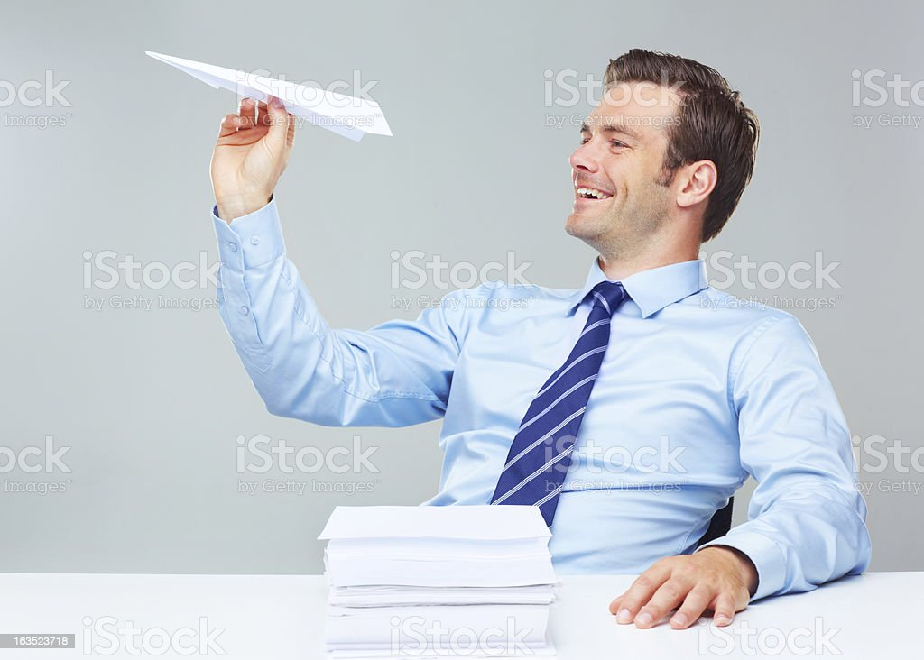 Taking time to play at work stock photo