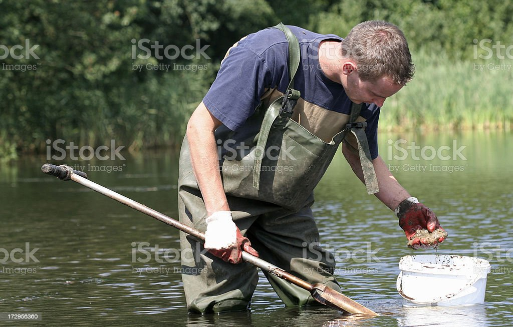 Taking water and mud samples royalty-free stock photo